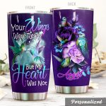 Personalized Hummingbird And Roses Your Wings Were Ready But My Heart Was Not Stainless Steel Tumbler Perfect Gifts For Hummingbird Lover Tumbler Cups For Coffee/Tea, Great Customized Gifts For Birthday Christmas Thanksgiving