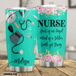 Personalized Nurse Mind Of A Soldier Stainless Steel Tumbler Perfect Gifts For Nurse Lover Tumbler Cups For Coffee/Tea, Great Customized Gifts For Birthday Christmas Thanksgiving