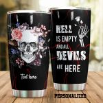 Personalized Skull Hell Is Empty Stainless Steel Tumbler Perfect Gifts For Skull Lover Tumbler Cups For Coffee/Tea, Great Customized Gifts For Birthday Christmas Thanksgiving