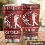 Personalized Golf Pattern Stainless Steel Tumbler Perfect Gifts For Golf Lover Tumbler Cups For Coffee/Tea, Great Customized Gifts For Birthday Christmas Thanksgiving