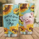 Personalized Pig Sunflower Just A Girl Who Loves Pigs Stainless Steel Tumbler, Tumbler Cups For Coffee/Tea, Great Customized Gifts For Birthday Christmas Thanksgiving