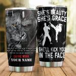 Personalized Jiujitsu She's Beauty She's Grace Stainless Steel Tumbler Perfect Gifts For Jujitsu Lover Tumbler Cups For Coffee/Tea, Great Customized Gifts For Birthday Christmas Thanksgiving