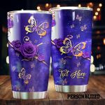 Personalized Purple Butterfly Lupus Awareness Stainless Steel Tumbler Perfect Gifts For Butterfly Lover Tumbler Cups For Coffee/Tea, Great Customized Gifts For Birthday Christmas Thanksgiving