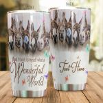 Personalized Donkey And I Think To Myself What A Wonderful World Stainless Steel Tumbler Perfect Gifts For Donkey Lover Tumbler Cups For Coffee/Tea, Great Customized Gifts For Birthday Christmas Thanksgiving