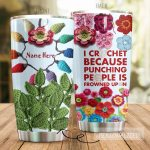 Personalized Crochet Punching People Is Frowned Upon Stainless Steel Tumbler Perfect Gifts For Crochet Lover Tumbler Cups For Coffee/Tea, Great Customized Gifts For Birthday Christmas Thanksgiving