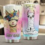 Personalized Llama Yoga Llamaste Stainless Steel Tumbler, Tumbler Cups For Coffee/Tea, Great Customized Gifts For Birthday Christmas Thanksgiving