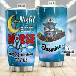 Personalized Nurse Owl Night Shift Nurse Stainless Steel Tumbler Perfect Gifts For Nurse Tumbler Cups For Coffee/Tea, Great Customized Gifts For Birthday Christmas Thanksgiving