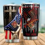 Personalized Firefighter Bald Eagle Back The Red Stainless Steel Tumbler Perfect Gifts For Firefighter Tumbler Cups For Coffee/Tea, Great Customized Gifts For Birthday Christmas Thanksgiving