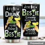 Personalized Wine Bestie Please Return To Bestie Stainless Steel Tumbler Perfect Gifts For Wine Lover Tumbler Cups For Coffee/Tea, Great Customized Gifts For Birthday Christmas Thanksgiving