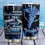 Personalized Nurse Never Underestimate A CNA Stainless Steel Tumbler Perfect Gifts For Nurse Tumbler Cups For Coffee/Tea, Great Customized Gifts For Birthday Christmas Thanksgiving