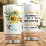 Personalized Sunflower Hummingbird Wake Up Every Morning Stainless Steel Tumbler Perfect Gifts For Hummingbird Lover Tumbler Cups For Coffee/Tea, Great Customized Gifts For Birthday Christmas Thanksgiving