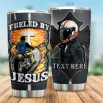 Personalized Motorbike Fueled By Jesus Stainless Steel Tumbler Perfect Gifts For Motorcycle Lover Tumbler Cups For Coffee/Tea, Great Customized Gifts For Birthday Christmas Thanksgiving