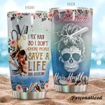 Personalized Skull Hair Hustler Save A Life Stainless Steel Tumbler Tumbler Cups For Coffee/Tea Meaningful Customized Gifts For Birthday Christmas Thanksgiving Awesome Gifts For Hair Stylist
