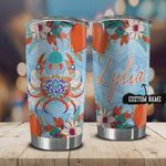 Personalized Beach Mandala Crab Stainless Steel Tumbler, Tumbler Cups For Coffee/Tea, Great Customized Gifts For Birthday Christmas Thanksgiving