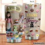 Personalized Baking Is My Therapy Stainless Steel Tumbler Perfect Gifts For Baking Lover Tumbler Cups For Coffee/Tea, Great Customized Gifts For Birthday Christmas Thanksgiving