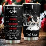 Personalized Winter Cow If You Feel Sad I'll Be Your Smile Stainless Steel Tumbler Perfect Gifts For Cow Lover Tumbler Cups For Coffee/Tea, Great Customized Gifts For Birthday Christmas Thanksgiving