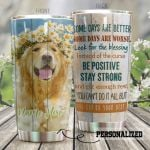 Personalized Golden Retriever Dog Wearing Daisy Wreath Look For The Blessing Stainless Steel Tumbler Perfect Gifts For Dog Lover Tumbler Cups For Coffee/Tea, Great Customized Gifts For Birthday Christmas Thanksgiving