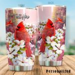 Personalized Red Cardinal With White Flower Stainless Steel Tumbler Perfect Gifts For Cardinal Lover Tumbler Cups For Coffee/Tea, Great Customized Gifts For Birthday Christmas Thanksgiving