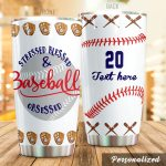 Personalized Baseball Bat And Glove Stressed Blessed And Baseball Obsessed Stainless Steel Tumbler Perfect Gifts For Baseball Lover Tumbler Cups For Coffee/Tea, Great Customized Gifts For Birthday Christmas Thanksgiving
