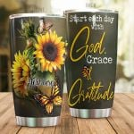 Personalized Sunflower Monarch Butterfly Start Each Day With God Stainless Steel Tumbler Perfect Gifts For Butterfly Lover Tumbler Cups For Coffee/Tea, Great Customized Gifts For Birthday Christmas Thanksgiving