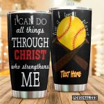 Personalized Softball Bat I Can Do All Things Stainless Steel Tumbler Tumbler Cups For Coffee/Tea Great Customized Gifts For Birthday Christmas Thanksgiving Perfect Gifts For Softball Lovers