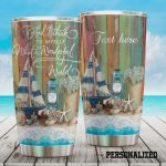 Personalized Beach And I Think To Myself What A Wonderful World Stainless Steel Tumbler, Tumbler Cups For Coffee/Tea, Great Customized Gifts For Birthday Christmas Thanksgiving