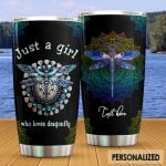 Personalized Mandala A Girl Loves Dragonfly Stainless Steel Tumbler Tumbler Cups For Coffee/Tea Meaningful Customized Gifts For Birthday Christmas Thanksgiving Awesome Gifts For Dragonfly Lovers