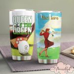 Personalized Golf Girl Queen Of The Green Stainless Steel Tumbler Tumbler Cups For Coffee/Tea Great Customized Gifts For Birthday Christmas Thanksgiving Awesome Gifts For Golf Lover
