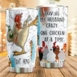 Personalized Chicken Driving My Husband Crazy One Chicken Stainless Steel Tumbler Perfect Gifts For Chicken Lover Tumbler Cups For Coffee/Tea, Great Customized Gifts For Birthday Christmas Thanksgiving