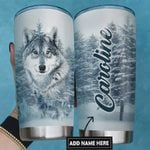 Personalized Snowy Wolf In The Forest Stainless Steel Tumbler, Tumbler Cups For Coffee/Tea, Great Customized Gifts For Birthday Christmas Thanksgiving