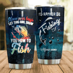 Personalized Fishing I'd Rather Be Fishing Stainless Steel Tumbler Perfect Gifts For Fishing Lover Tumbler Cups For Coffee/Tea, Great Customized Gifts For Birthday Christmas Thanksgiving