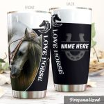 Personalized White Love Horses Stainless Steel Tumbler Perfect Gifts For Horse Lover Tumbler Cups For Coffee/Tea, Great Customized Gifts For Birthday Christmas Thanksgiving