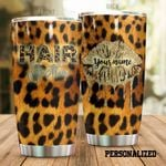 Personalized Hair Hustler Cheetah Pattern Stainless Steel Tumbler Tumbler Cups For Coffee/Tea Meaningful Customized Gifts For Birthday Christmas Thanksgiving Awesome Gifts For Hair Stylist