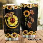 Personalized Sea Turtle Sunflower You Are My Sunshine Glitter Stainless Steel Tumbler Perfect Gifts For Sunflower Lover Tumbler Cups For Coffee/Tea, Great Customized Gifts For Birthday Christmas Thanksgiving