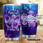 Personalized Purple Gilttered Butterfly Angels Among Us Stainless Steel Tumbler Perfect Gifts For Butterfly Lover Tumbler Cups For Coffee/Tea, Great Customized Gifts For Birthday Christmas Thanksgiving