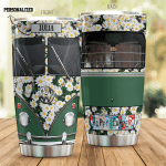 Personalized Camping Car With Daisy Flower Happy Camper Stainless Steel Tumbler Perfect Gifts For Camping Lover Tumbler Cups For Coffee/Tea, Great Customized Gifts For Birthday Christmas Thanksgiving