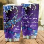 Personalized Purple Dragonfly Strength Is What We Gain Stainless Steel Tumbler Tumbler Cups For Coffee/Tea Great Customized Gifts For Birthday Christmas Thanksgiving Awesome Gifts For Dragonfly Lovers