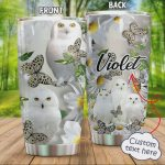 Personalized White Owls With Butterflies Stainless Steel Tumbler, Tumbler Cups For Coffee/Tea, Great Customized Gifts For Birthday Christmas Thanksgiving