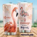 Personalized Flamingo Flower Pattern Be A Flamingo In A Flock Of Pigeons Stainless Steel Tumbler Perfect Gifts For Flamingo Lover Tumbler Cups For Coffee/Tea, Great Customized Gifts For Birthday Christmas Thanksgiving