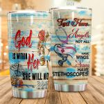 Personalized Nurse Angel Not All have Wings Stainless Steel Tumbler Perfect Gifts For Nurse Tumbler Cups For Coffee/Tea, Great Customized Gifts For Birthday Christmas Thanksgiving