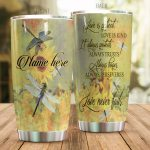Personalized Dragonfly Sunflower Love Is Kind Stainless Steel Tumbler Perfect Gifts For Dragonfly Lover Tumbler Cups For Coffee/Tea, Great Customized Gifts For Birthday Christmas Thanksgiving