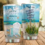 Personalized A Day At The Beach Restores The Soul Stainless Steel Tumbler Perfect Gifts For Beach Lover Tumbler Cups For Coffee/Tea, Great Customized Gifts For Birthday Christmas Thanksgiving