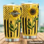 Personalized Sunflower American Flag Stainless Steel Tumbler Perfect Gifts For Sunflower Lover Tumbler Cups For Coffee/Tea, Great Customized Gifts For Birthday Christmas Thanksgiving