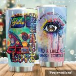 Personalized Hippie Van And Eye Mostly Peace Love And Light Stainless Steel Tumbler Perfect Gifts For Hippie Tumbler Cups For Coffee/Tea, Great Customized Gifts For Birthday Christmas Thanksgiving