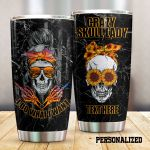 Personalized Sunflower Crazy Skull Lady Stainless Steel Tumbler Perfect Gifts For Skull Lover Tumbler Cups For Coffee/Tea, Great Customized Gifts For Birthday Christmas Thanksgiving