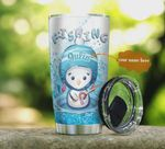 Personalized Penguin Go Fishing Stainless Steel Tumbler, Tumbler Cups For Coffee/Tea, Great Customized Gifts For Birthday Christmas Thanksgiving