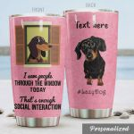 Personalized Dachshund I Saw People Through The Window Today That's Enough Social Interaction Stainless Steel Tumbler, Tumbler Cups For Coffee/Tea, Great Customized Gifts For Birthday Christmas Thanksgiving