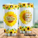 Personalized Sunflower Pattern Be A Sunflower White Stainless Steel Tumbler Perfect Gifts For Sunflower Lover Tumbler Cups For Coffee/Tea, Great Customized Gifts For Birthday Christmas Thanksgiving