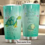 Personalized Lovely Sea Turtle Your Speed Doesn't Matter Stainless Steel Tumbler Perfect Gifts For Sea Turtle Lover Tumbler Cups For Coffee/Tea, Great Customized Gifts For Birthday Christmas Thanksgiving