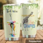 Personalized Keep Calm And Love Giraffes Stainless Steel Tumbler Perfect Gifts For Giraffe Lover Tumbler Cups For Coffee/Tea, Great Customized Gifts For Birthday Christmas Thanksgiving